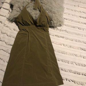 Army green Atheta halter dress